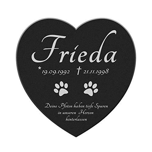 kultdog Marmor Herz Gedenkstein - Tiergrabstein mit Gravur - Grabschmuck Hund, Katze & andere Tiere - Gedenktafel personalisiert - Pfoten