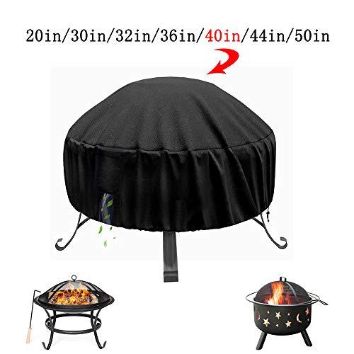HOHONG Feuerstelle Abdeckung - wasserdichte runde Patio Firepit Bowl-Abdeckung für hohe Beanspruchung mit Wasser- und UV-beständiger Abdeckung für Terrassenheizungen im Freien, 40 Zoll schwarz