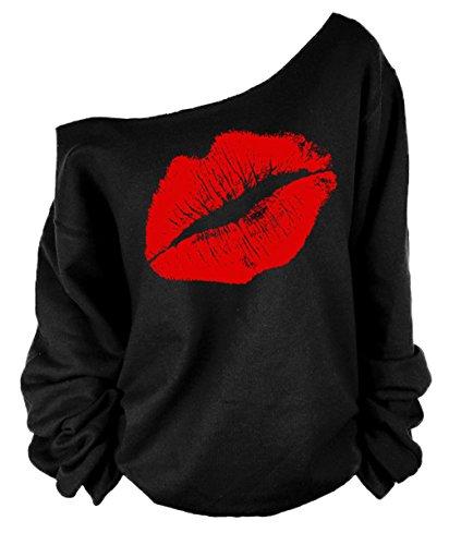 Mujeres Otoño Invierno Elegante Camisetas Suéter Fuera del Hombro Labios Rojos Impresas Sudaderas Pulóver Manga Larga Jerséis Tops Sweatshirt