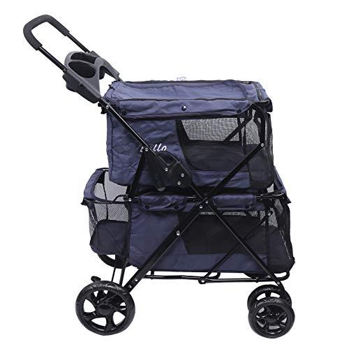 Doppelschichtiger Hundewagen Duo-Wagen Faltbarer Haustier Kinderwagen Pet Stroller Hunde Buggy Luxus-Haustierwagen für Katze Hundebuggy Haustier Kinder