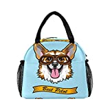 Lunch Bag for Women Men, Funny Corgi Pilot Dog Insulated Reusable Lunch Box Thermal Cooler Tote Bag for Work Picnic Hiking Travel Beach