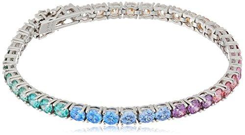 Platinum-Plated Sterling Silver Round-Cut Swarovski Zirconia Rainbow Tennis Bracelet, 7.25