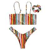JERKKY Zweiteiler Bikini Set Frauen Sexy Einstellbare Spaghetti-trägern Bandeau Crop Top Tanga...
