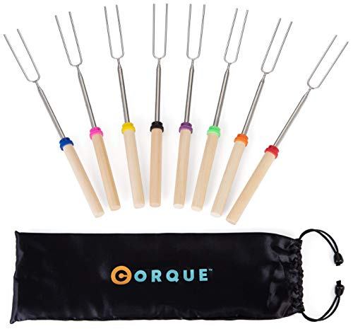 CORQUE Marshmallow Roasting Sticks Extendable Camping Skewer for Fire Pit, Wooden Handle 32inch Metal Smore Sticks for BBQ Hotdog, Cooking, Campfire, Bonfire Set of 8