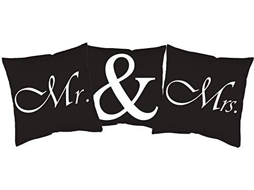 3er Set Kissen mit Druck Mr. & Mrs.