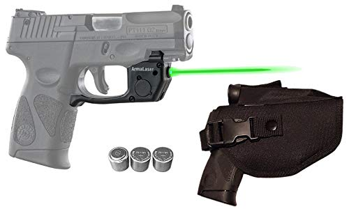 Laser Kit for Taurus PT111 / PT140 Millennium G2 / G2S / G2C / G3 / G3c w/Holster, Touch-Activated ArmaLaser TR23 Green Laser & 2 Extra Batteries