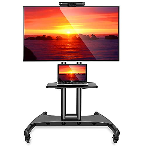 Mount Factory Rolling TV Cart Mobile TV Stand for 40-65 inch Flat Screen, LED, LCD, OLED, Plasma, Curved TV's - Universal Mount with Wheels