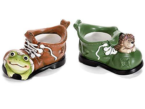 Gruppo Maruccia Vasi Porta Piante in Ceramica a Forma di Scarpone con animaletti Set da Quattro vasi Decorazione per casa e Giardino