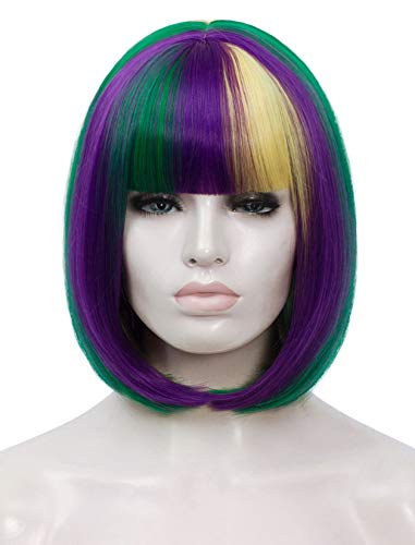 Bopocoko Short Purple Green Yellow Wigs for Women, 12'' Colorful Bob Hair Wig with Bangs, Natural Fashion Synthetic Full Wig, Cute Colored Wigs for Mardi Gras Party Cosplay Halloween BU027M