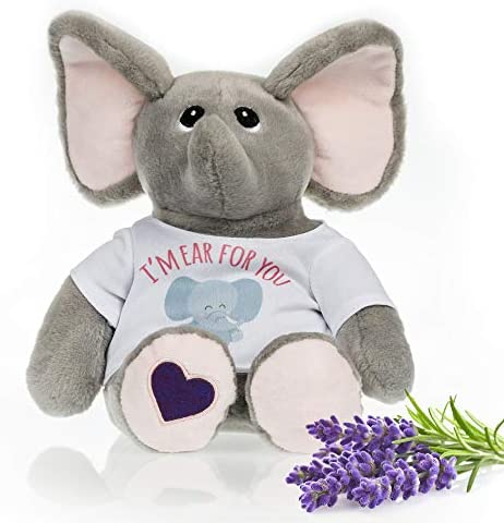 Stuffed Elephant Heated Microwavable Therapeutic Plush Stuffed Animal with French Lavender Scent product image