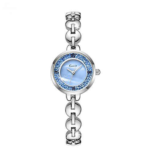 Uhr Damen Diamond Pearl–Armband in Stahl verstellbar bis 20cm, Zifferblatt Perlmutt hellblau–Maschen abnehmbar–wasserdicht–Hohe Qualität, Idee Geschenk, Geburtstag, Jahrestag
