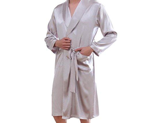 Herren Lange Ärmel Heimservice Pyjama Frühjahr Und Herbst Schlaf Bademäntel Simulation Seide Große Nachthemden,White-M