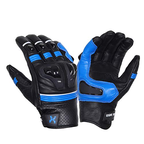 Royal Men Gear, guanti da moto in pelle di alta qualità, con protezione contro le nocche da corsa, guanti da equitazione (blu corsa)