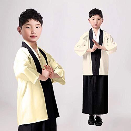 SYXYSM Los Trajes De Los Niños Traje De Cosplay Japonesa Niños Kimono Yukata Tradicional Samurai del Traje De Halloween Ropa Niños Rendimiento (Color : Yellow, Size : M)