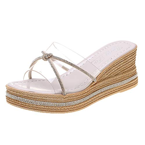 LONGTING Fashion Wedges Shoes Slip On Crystal Open Toe Slippers Ladies Causal Shoes Women Casual Daily Sandals Beige