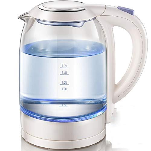 FUDIV Hohe Borosilicatglas elektrischer Wasserkocher Haushalt Edelstahl Wasserkocher blau Wasserkocher Wasser kocht Neue Netto-1.7L, 1800W, wissen
