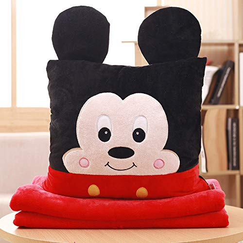 Cartoon anime plus velvet blanket sofa pillow quilt dual purpose square pillow@Male rat_Three in one (with small blanket 0.8 * 1 m)