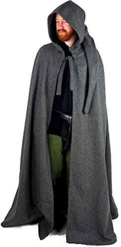 Dark Dreams Mittelalter Gothic Larp Wolle Umhang Cape Zipfel Kapuze Gugel schwarz braun grau, Farbe:grau