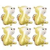 Toyvian 6 Piezas Animal Globo Ardilla Globo de Dibujos Animados Globo de Papel de Aluminio decoración para Suministros de Fiesta