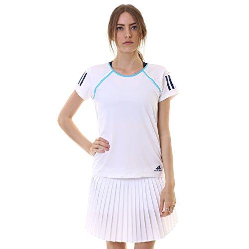 adidas Mujer Camiseta de Club de Tenis, mujer, White/Samba Blue Mystery Blue