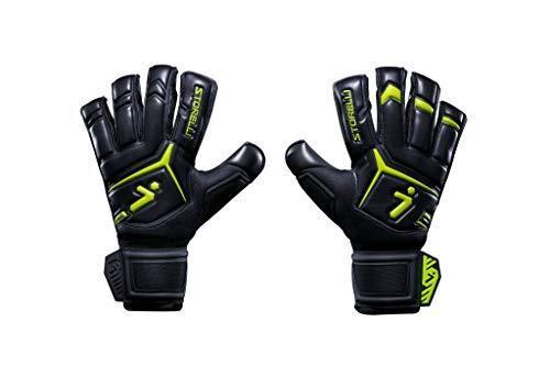 Storelli Gladiator Elite 3.0 Goalkeeper Gloves | High-Performance Soccer Goalie Gloves with Finger Spines | Premium Finger and Hand Protection | Black & Yellow | Size 7