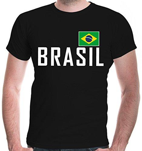 buXsbaum Herren T-Shirt Brasilien | Brasil Brazil Amerika Ländershirt Fanshirt Flagge Trikot Reise | M, Schwarz