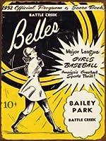 なまけ者雑貨屋 Belle Baseball ブリキ看板 メタルプレート アメリカン ヴィンテージ風 レトロ