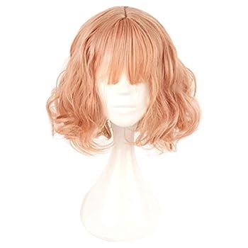 MCOSER 35cm Japan and South Korea Wig Air Bang Paragraph With Daily Harajuku Pink Gold Lolita Wig
