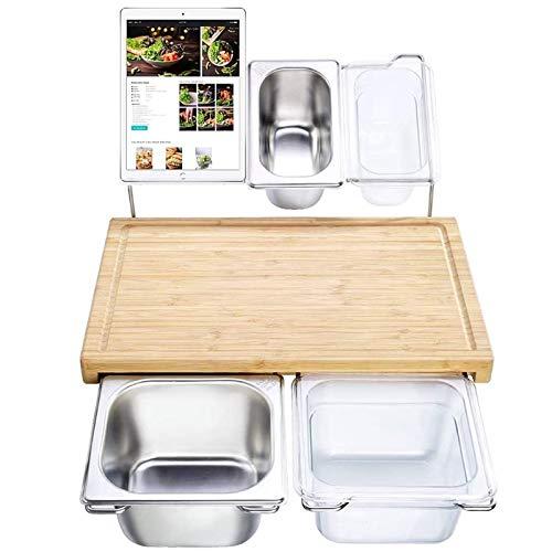 LCJDD Ausziehbares Bambus-Schneidebrett-Set mit 4 Behältern für die Küche mit Saftrille, umweltfreundliches Schneide- und Servierbrett für Fleisch, Brot, Obst