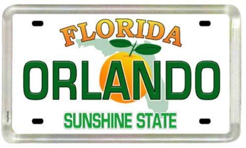 Orlando Florida License Plate Acrylic Small Fridge Collector's Souvenir Magnet 2' X 1.25'