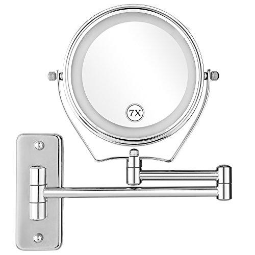 oliote Specchio Luminioso da Parete a LED Ingrandimento 1x / 7X Doppio Lato, Specchio Pieghevole di Bellezza da 6 Pollici Rotazione a 360° Cromato in Metallo per Truccare, Indossare, Radere ECC