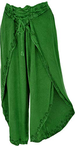 GURU SHOP Palazzohose, Hosenrock, Orienthose, Sommerhose, Damen, Grün, Synthetisch, Size:38, Lange Hosen Alternative Bekleidung
