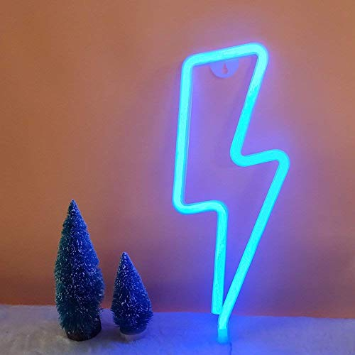 LED forme de foudre enseigne au néon lumière art décoratif lumières mur décor pour chambre de bébé fournitures de fête de mariage de noël (lumière bleue)