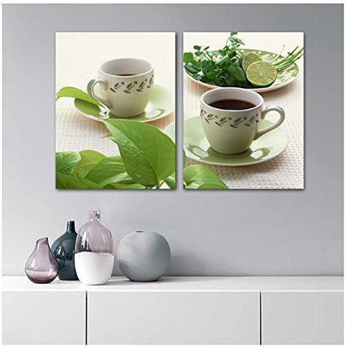 Leinwandmalerei Modernes Küchenzimmer Dekorative Kaffeetasse Poster und Drucke Grüne Pflanze Wandkunst 60x90cm Mit Rahmen grün