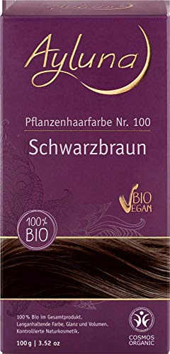 Ayluna Bio Pflanzenhaarfarbe Schwarzbraun (6 x 115 gr)