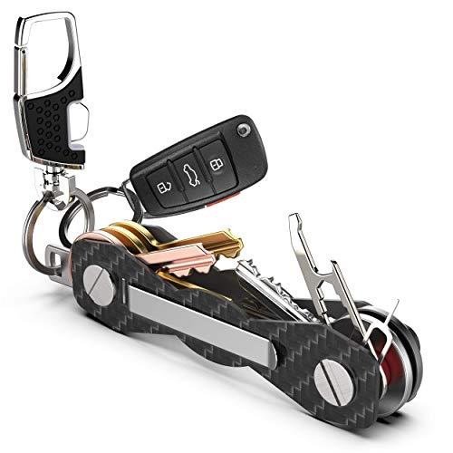 Schlüsselorganizer Carbon Kompakt - Premium-Hochleistungs Schlüsselbund-Organizer bis 28 Schlüssel -B0NUS- Schlüsselanhänger mit Schlaufenteil für Gürtel & Autoschlüssel + Mehr (Schwarz)