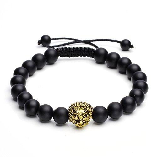 QGEM Herren Rock Lavasteine Perlenarmband 8mm Steinkugeln Armband Energietherapie verstellbar Armreif mit Löwe-Kopf Charms