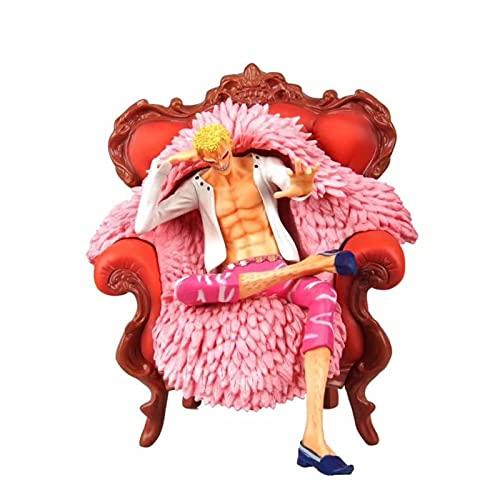 Liiokiy 23 cm Anime Figura One Piece Donquixote Doflamingo Sentado Sofá Versión Figura de acción Modelo Hecho A Mano Modelo Animación Personaje Modelo Juegos Anime Decoración Arte Regalo Collectable F