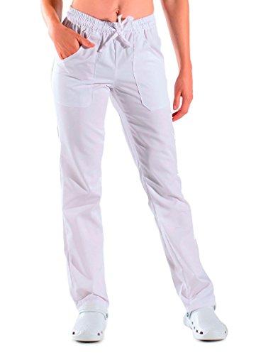 Isacco - Pantalones de trabajo unisex Robinson, color blanco Blanco M