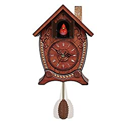 Mark Feldstein & Associates Traditional Chalet Style Singing Cardinal Tabletop Wall Sound Cuckoo Clock