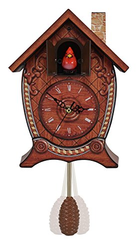 Mark Feldstein Traditional Chalet Style Singing Cardinal Tabletop Wall Sound Cuckoo Clock