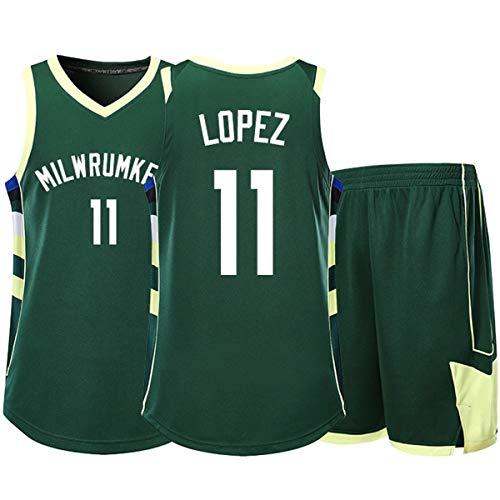 RL Bucks 11# Lopez Chaleco Deportivo Pantalones Cortos Baloncesto Jersey Conjunto De Dos Piezas, Hombre Sin Mangas Camiseta, NiñO Manga Corta, Mujer Camisa De Entrenamiento(2XS-5X),Verde,4X(185/190)