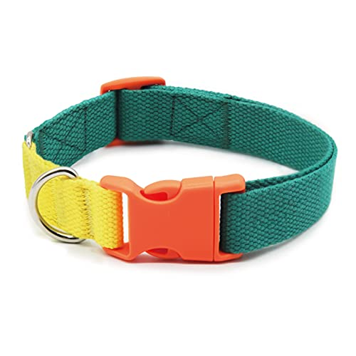 ZAizi SAM Green Heavy Duty Dog Collars, Classic Adjustable Soft Pet Collars with Quick Release Buckle for Small Medium Large Dogs with Sensitive Skin (Small (10'' - 17'' x 3/4'' ))