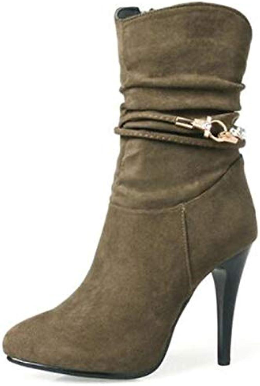 ZHZNVX Damenschuhe Wildleder Herbst & Winter Fashion Stiefel Stiefel Stiletto Heel Spitzschuh Mid-Calf Stiefel Strass Schwarz Grau   Khaki  | Vorzügliche Verarbeitung  | Überlegen  | Reparieren