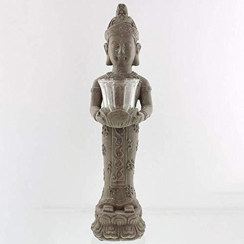 Cakunmik Bodhisattva-Kerzenhalter aus Kunstharzimitat im Retro-Stil,Meditierende Buddha-Statue Mit Lotus Kerzenhalter,Zen Garten-skulptur Aromatherapie Zubehör Buddha