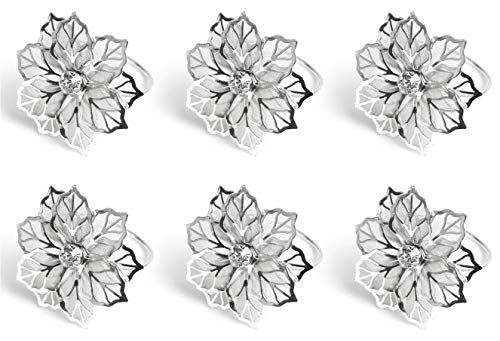 Keleily Silber Serviettenringe 6 Stück Metall Serviettenringe Tischdekoration Serviettenhalter Blumenmuster aushöhlen Serviettenringe für Weihnachten, Hochzeit, Bankett, Hotel, Restaurant