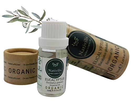 Nativilis Organic Eucalyptus Essential Oil (Eucalyptus globulus) - 100% Natural - 10ml - (GC/MS Tested)