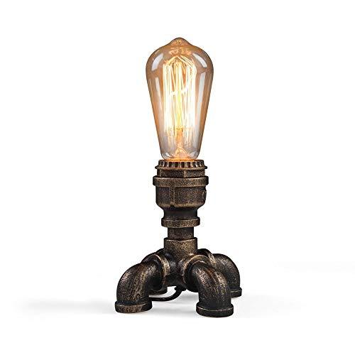 Mopoq Single Head Wasserrohr Tischlampe Antike Steampunk Metall-Schreibtisch-Licht Bronze-Finish Schmiedeeisen Tisch Beleuchtung Dekoration Schlafzimmer Arbeitszimmer Büro Edison E27