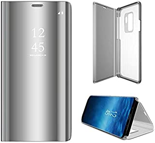 Samsung Galaxy S9+ Plus Clear View Mirror Case Cover Flip Stand Silver