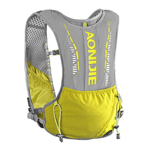 TRIWONDER Sac d'hydratation Trail 5L Sac à Dos Running Gilet Trail Backpack Fonctionnel Léger pour Marathon Course Homme Femme (Jaune)